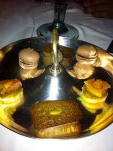 Pistachio financiers, chocolate macaroon and a citrus bite