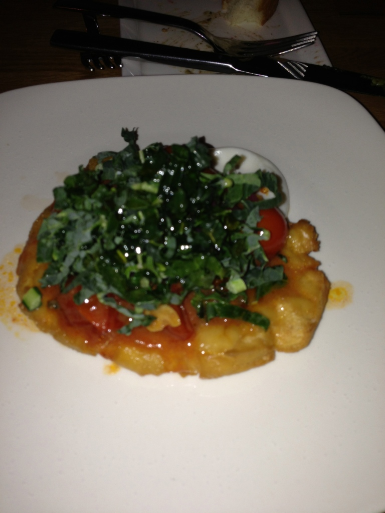 Fry bread with kale and tomatoes