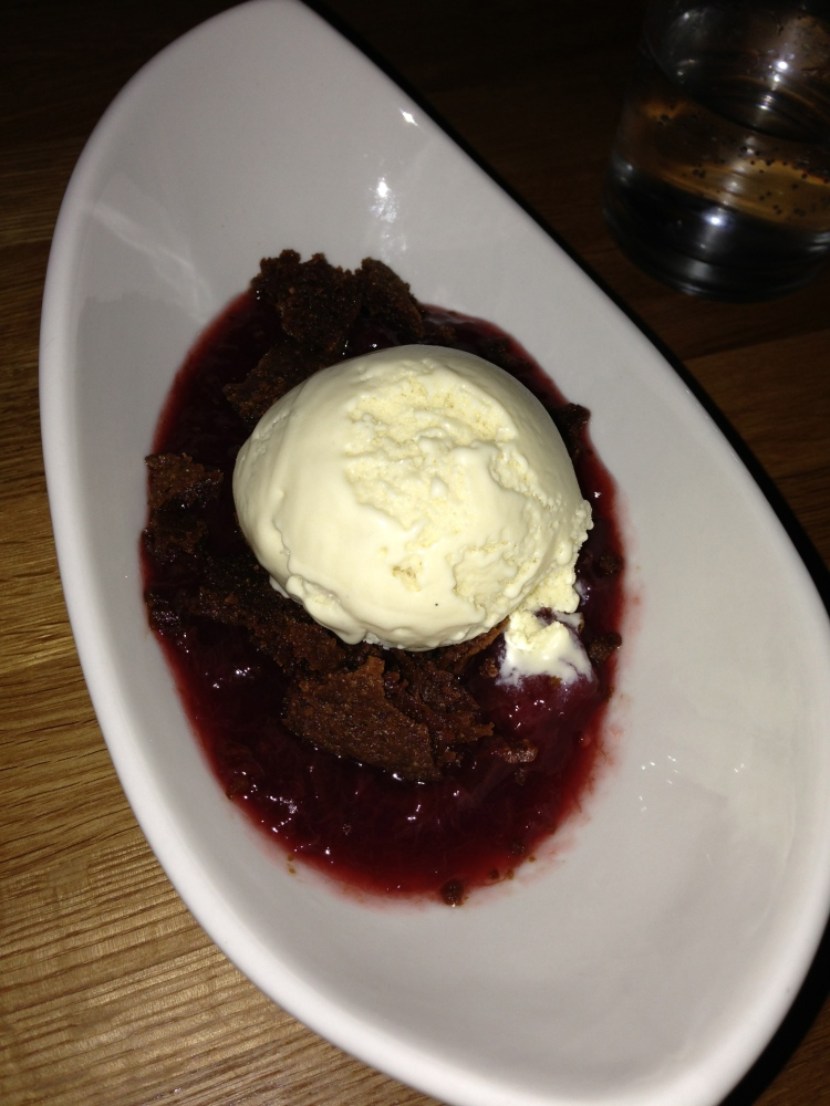Prune dessert with bay leaf icecream